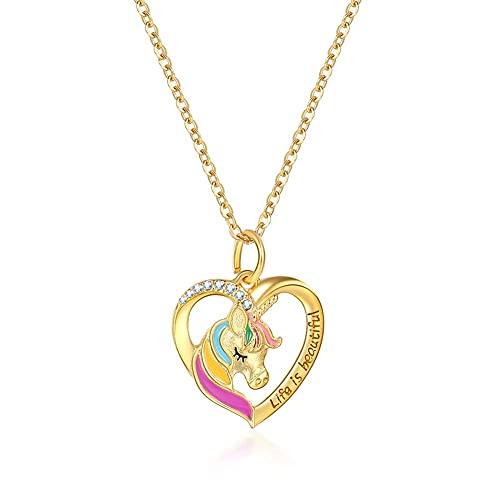 Collar unicornio Animales Niña y Mujer Colgante unicornio corazon Hipoalergénica Joyas Regalos para adolescentes chicas Hija Amiga Cumpleaños Collar (oro)