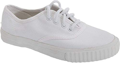 Dek Kids - Zapatillas Unisex de tela blanca con cordones para niños/jóvenes (30 EU/Blanco)