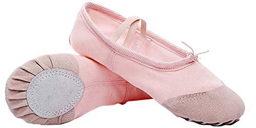 Zapatillas de Ballet con Suela Partida, Lona Transpirable con Punta en Cuero, Gomas de Sujeción Precosidas (24, Rosa Claro)