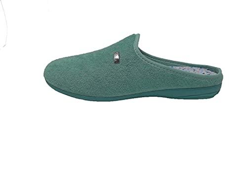 Zapatillas de estar por casa/Mujer/Biorelax/Apto plantilla ortopedica/Plantilla extraible/Empeine :Algodón Rizo/Aguamar/Talla 37
