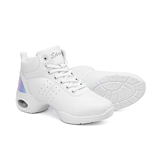 Zapatos de Baile Latino Mujer Salsa Antideslizantes Comodos Cuero Zapatillas Baile Moderno Jazz Calzado Negro Blanco