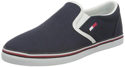 Tommy Jeans Essential Slip ON Sneaker, Zapatillas Bajas Mujer, Azul Crepúsculo Marino C87, 35 EU