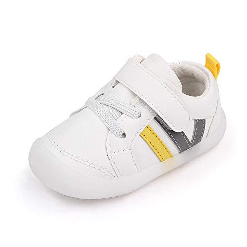 MASOCIO Zapatillas Bebe Niño Niña Zapatos Primeros Pasos Bebé Deportivas Antideslizante Talla 22.5 Blanco Gris