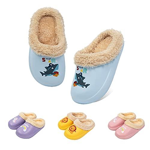 Guyarns Zapatillas de Estar por Casa para Niñas Niños Invierno Zapatillas de Interior Casa Caliente Pantuflas Suave Calentar Antideslizante Slippers(Azul,220mm)