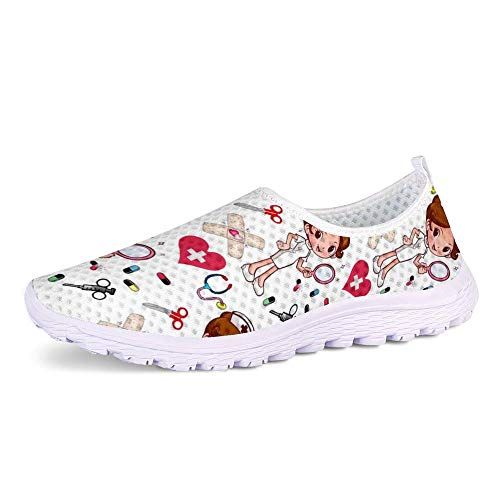 POLERO Zapatillas sin Cordones con Estampado de Enfermera para Mujer Zapatillas de Caminar Planas de Malla Transpirable Casual Zapatos de Trabajo livianos Senderismo Trotar, Blanco, Talla 36