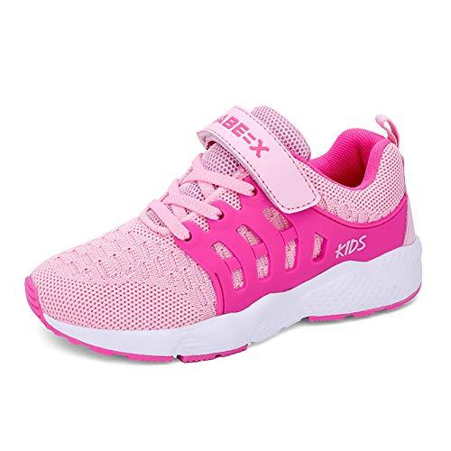 Zapatillas Deportivas Unisex para Niños Zapatillas de Correr Transpirables para Niñas Zapatillas Ligeras, Rosa, 34 EU