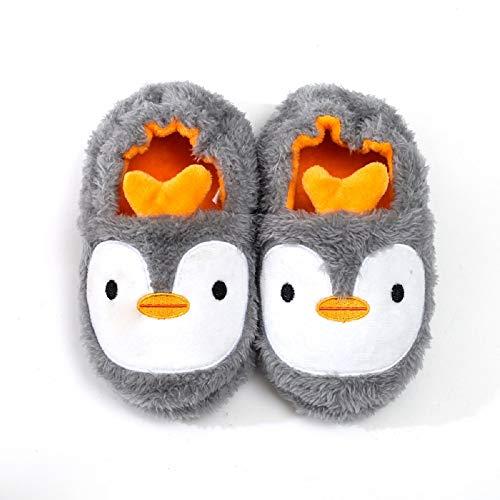 Zapatillas de Estar por Casa para Niñas Niños Invierno Animales Pantuflas Cerradas Pingüino 27 28