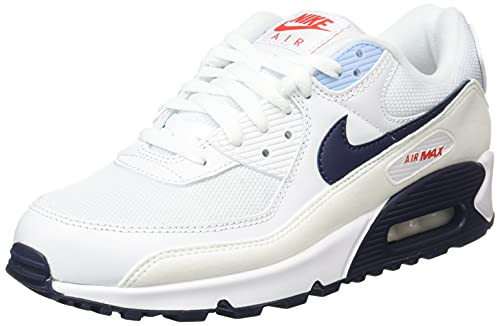 Nike Air MAX 90, Zapatillas Deportivas Hombre, White Chile Red Psychic Blue Midnight Navy, 40 EU