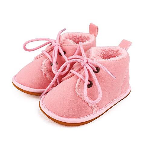 Lacofia Botas de Invierno de Suela de Goma para bebés niños o niñas Zapatillas de Deporte con Cordones para bebé Rosa 3-6 Meses