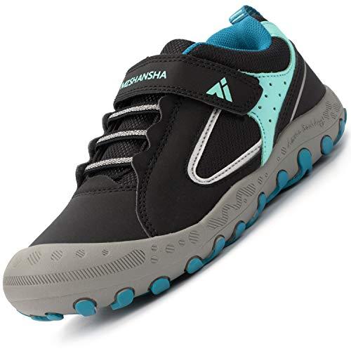 Calzado Casuales para Niños Niñas Clásico Ligeras Transpirable Zapatillas Senderismo Adolescente Cómodas Low-Top Estable Zapatos para Correr, Azul Negro 36