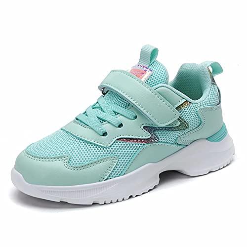 Zapatillas Deporte Niña Bambas Chicas Zapatos Transpirables Tenis Atléticos Caminar Moda Gliter 4-12 años (Número 28, Verde)