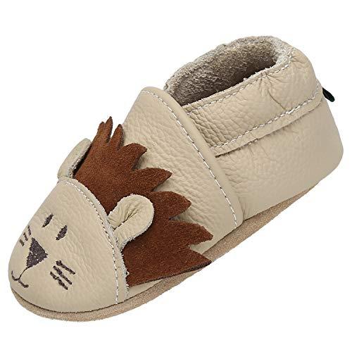 Zapatillas Bebe Niño Niña Blandos Flexibles Zapatos para Gatear Infantil Antideslizante Zapatitos Primeros Pasos Comodas Ligeros Pantuflas Bebé, León Beige 6-12 Meses