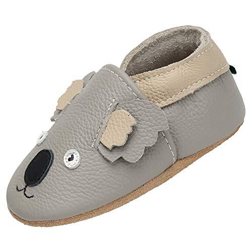 Zapatillas Bebe Niño Niña Blandos Flexibles Zapatos para Gatear Infantil Antideslizante Zapatitos Primeros Pasos Comodas Ligeros Pantuflas Bebé, Koala Gris 12-18 Meses
