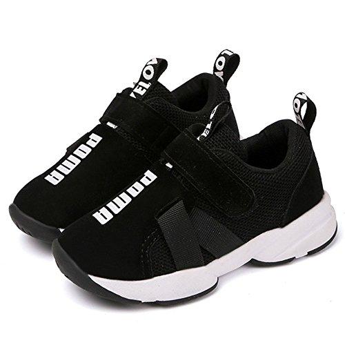 Daclay Zapatos niños Deportivo Transpirable y Transpirable con Parte Superior de Cuero cómoda con Zapatillas Velcro niña Sneakers Negro 27EU