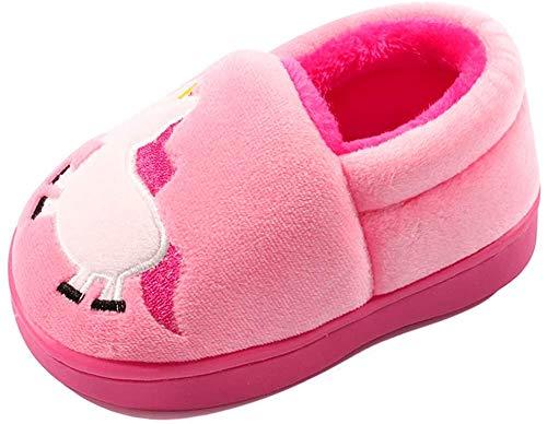 Zapatillas de invierno LACOFIA para niñas Zapatillas de felpa para el hogar Calientes antideslizantes para niños Rosa 23/24 Eu (tamaño del fabricante 16-17)