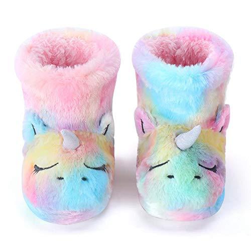 Dream Bridge Zapatillas de Felpa para Niñas Botas de Peluche para Chicas Unicornio Multicolor