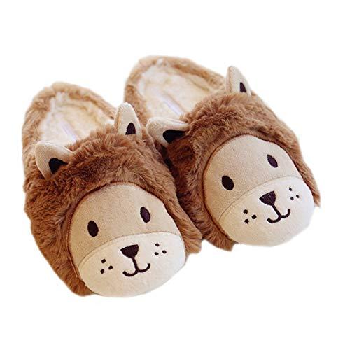 LANFIRE Zapatos de Felpa cálidos para niñas León de Las Mujeres Suela Suave Zapatillas de casa de Interior Fuzzy Lamb Zapatillas de Animales de Dibujos Animados (40/41 EU)