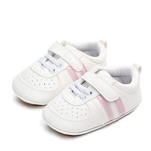 MASOCIO Zapatos Unisex Bebe Niña Recién Nacido Primeros Pasos Zapatillas Deportivas Bebé Suela Blanda Antideslizante Blanco Rosa 6-12 Meses