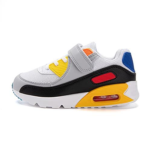 Zapatillas Niño Unisex Sneakers Niña Zapatos Deporte Running CalzadoNiños Casual Transpirables Antideslizante Blanco Amarillo Talla 31 EU