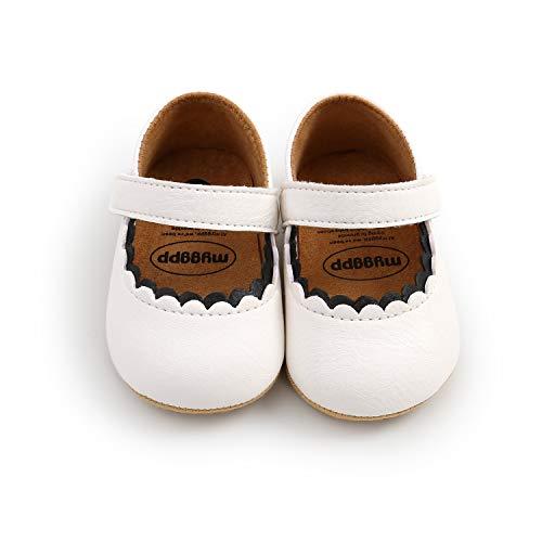 Zapatos de Niña Zapatos Antideslizantes Primeros Pasos para bebé niñas con Suela Bailarinas bebé niña Zapatillas Antideslizantes Zapatos de Princesa (12-18 meses, blanco)