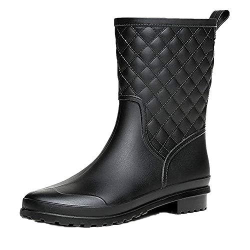 Bota Agua Mujer Jardín Trabajo Lluvia Botas Antideslizante Wellington Boots Negro 36