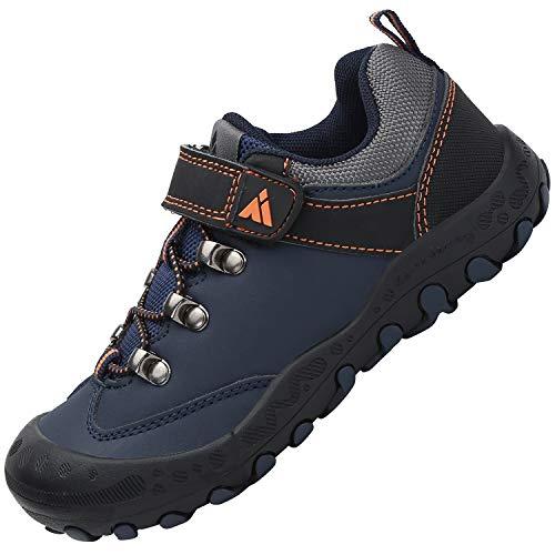 Zapatos Casuales de Niño Ultraligero Transpirable Zapatillas Senderismo Niña Cómodo Flexible Antideslizante Calzado Deportivo Niños Unisexo, PU Azul Ocuro 35