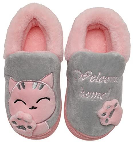 Vunavueya Zapatillas de Estar por Casa Niña Niño Zapatos Pantuflas Invierno Bebé Interior Caliente Peluche Forradas Slippers Gris(Cat) 24/25 EU/16-17CN