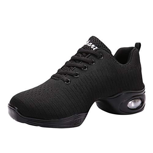 POLP Mujer Zapatos de Baile Jazz Danza Moderna Suave Zapatos de baile de Transpirable Zapatillas de deporte Calzado con Cordones Negro Blanco
