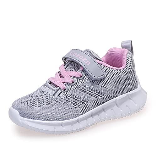 Zapatillas Deportivas Niña Bambas Niña Tenis Nina Ligeras Zapatos de Correr Transpirables para Niñas Talla 26 EU,Gris