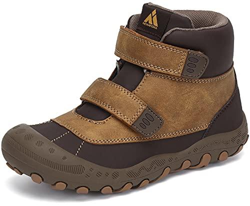 Mishansha Zapatillas de Trekking Niño Niña Ligeras Calzado Senderismo comodas Antideslizante Botas de Trekking para Exteriores Montaña, Marrón Leonado 28 EU