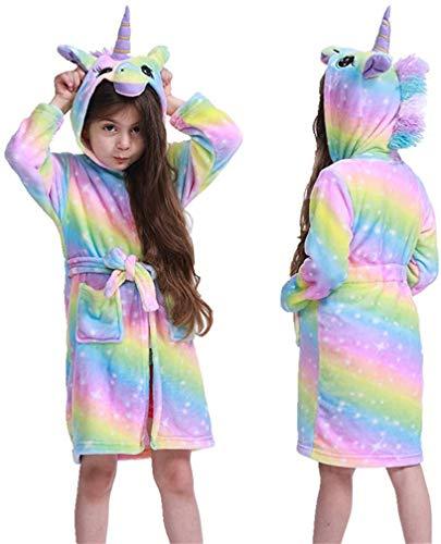 Ksnnrsng Suave Unicornio Albornoz con Capucha Ropa de Dormir- Regalos de Unicornio para Niñas (Arco Iris Púrpura, 8-9 años)