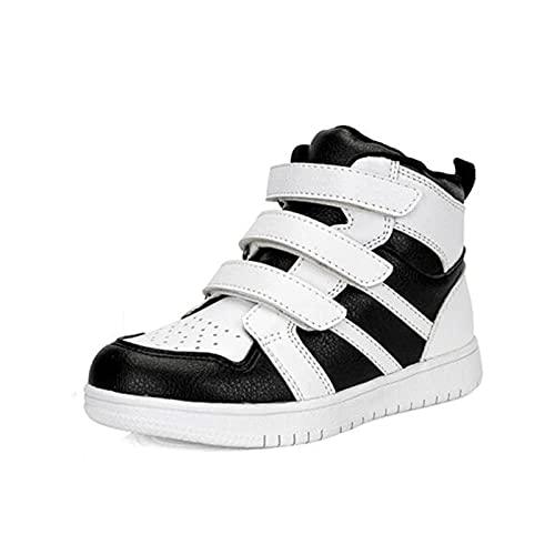 SQOAEE Zapatos ortopédicos para niños Zapatillas de Deporte con Soporte Arco Zapatillas de Deporte correctivas Cuero Genuino con Espalda Alta para piernas Forma XO Pies Planos Hallux Valgus,Negro,23