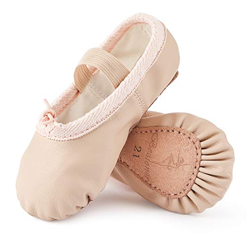 Zapatillas de Danza Cuero Zapatos de Ballet y Gimnasia Baile para Niña y Mujer Beige 24