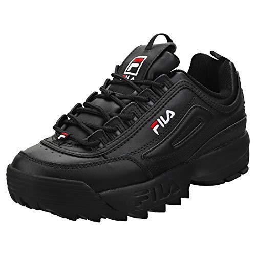 Fila Disruptor II - Zapatillas deportivas para mujer, Negro (Negro/Blanco/Rojo), 41.5