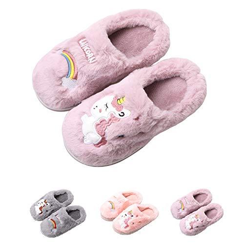 HausFine Zapatillas de Estar por Casa para Niñas Niños Invierno Zapatillas de Unicornio Interior Casa Caliente Pantuflas Suave Calentar Antideslizante Slippers (30-31 EU, Violeta)
