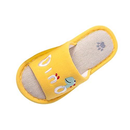 Pantuflas Animales Niños Niñas Zapatillas Casa Interior y Exterior Babuchas Comoda Peludas Slippers Ortopedicas Zapatos Botines Antideslizante Disfraz Dinosaurios Juguetes (Amarillo, 34.5)