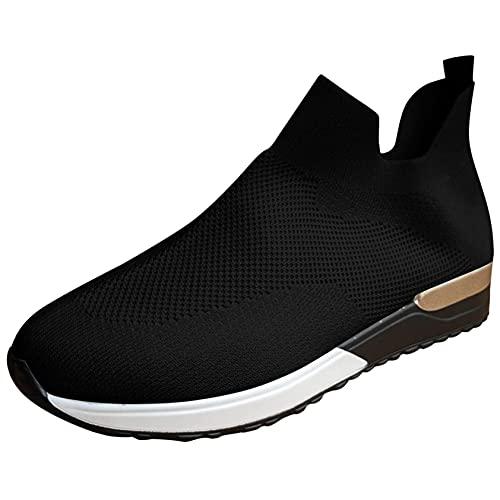 OHQ Zapatillas De Deporte para Mujer Transpirables Malla Sin Cordones Calzado Deportivo Antideslizante Zapatilla para Correr CóModo Y Elegante (Negro, Numeric_37)
