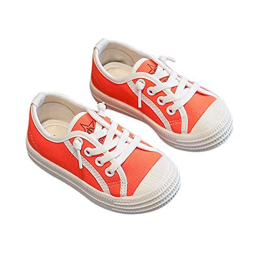 DEBAIJIA Niñas Niños Zapatos 2-7 Años Zapatillas de Deporte Lona Dulce Casual Suave Doble Antideslizantes Transpirables Ligeros EU 31.5 Naranja(Tamaño Etiqueta 32)