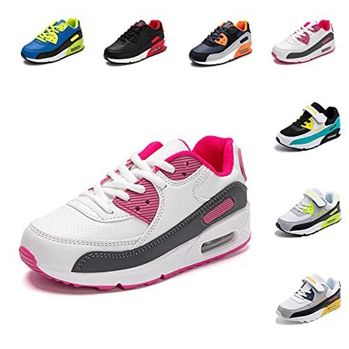 Zapatillas Deportivas Niño Niña Zapatos de Correr Antideslizante Zapatillas Deporte para Niños Cordones Gimnasio Ligero Transpirable Rosa 30 EU