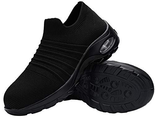 DYKHMILY Zapatillas de Seguridad para Mujer Ligeras, Zapatos de Trabajo con Punta de Acero Slip-on Comodo Respirable Calzado de Seguridad(Negro, 37.5EU)