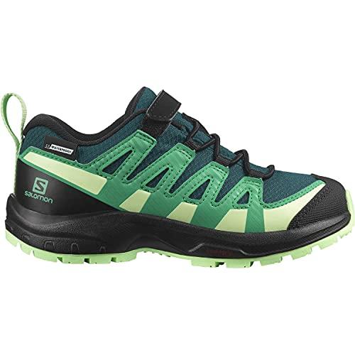 Salomon XA Pro V8 Climasalomon™ Waterproof (impermeable) niños Zapatos de trail running, Verde (Deep Teal/Black/Patina Green), 29 EU
