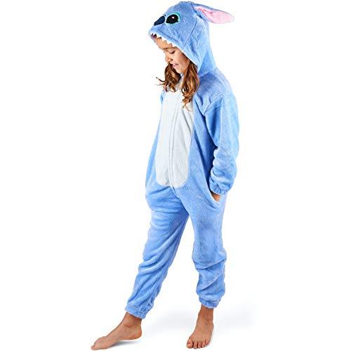 Maybear® Mono Pijama Infantil Adulto Disfraz de Animal Cosplay Suave cálido para Disfraz Azul 125-135 (125)