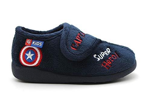 Garzón - Zapatillas de casa talón Cubierto Capitán América con Velcro, para: Niño Color: Marino-Rojo Talla:34