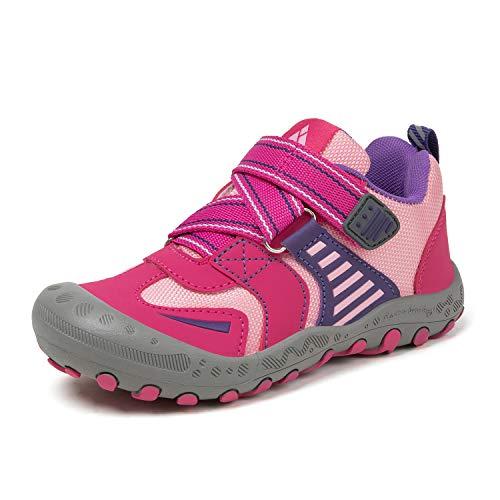 Mishansha Zapatos de Bambas Niños Niña Trekking Sneakers Antideslizante Zapatos Senderismo Rosa 32 EU