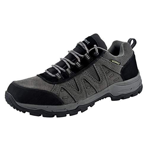 riemot Zapatillas Trekking para Mujer y Hombre, Zapatos de Senderismo Calzado de Montaña Escalada Aire Libre Impermeable Ligero Antideslizantes Zapatillas de Trail Running, Hombre Gris Negro 42 EU