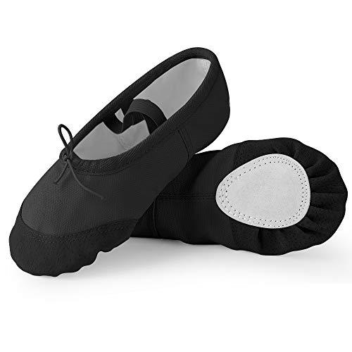 Soudittur Zapatillas de Ballet Suela Partida de Cuero Calzado de Danza para Niña y Mujer Adultos Negras Tallas 30