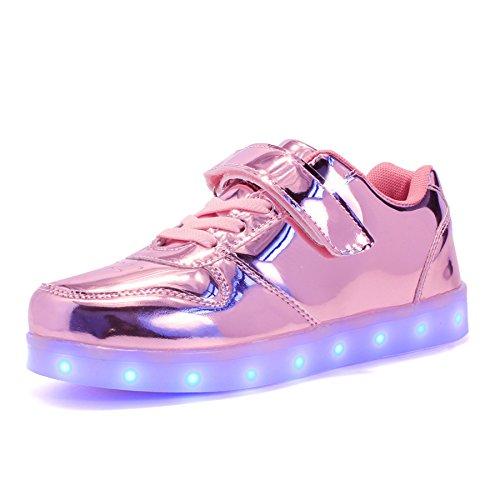 Voovix Kids Low-Top Led Light Up Shoes con Control Remoto Zapatos con Luces para niños y niñas(Rosa01,EU31/CN31)
