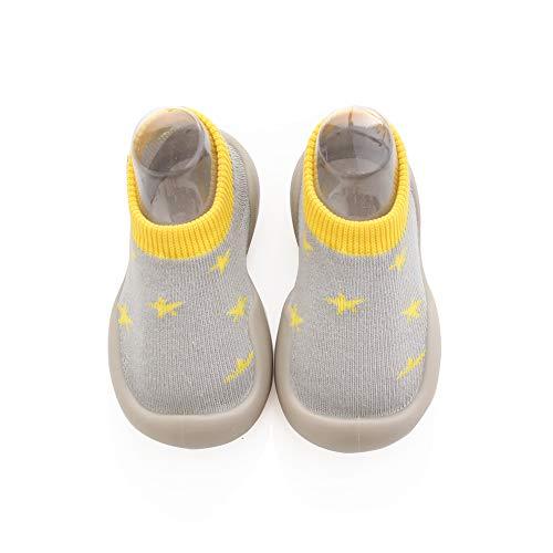 Scarpe da Passo per Bambini,Calzini antiscivolo per Bambini, Scarpa da Tennis Della Ragazza del Ragazzo (Yellow Star, Numeric_22)