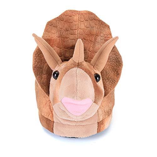 JK Triceratops - Zapatillas de peluche con diseño de oso koala, para interiores, dormitorio, sala de estar, niños y adultos, color, talla Small
