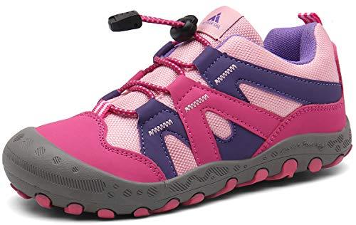Mishansha Zapatillas de Senderismo Niña Trekking Zapatos Niños Zapatos para Camina Ligero Zapatillas de Malla Resistentes Running Cordones Elásticos Rojo 29
